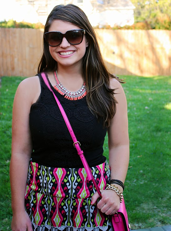 La Petite Fashionista: Pink Ikat Skirt & Statement Necklace