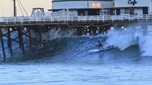 Laird Hamilton shoots pier on Huge wave - Malibu Lagoon Surfrider Beach - 8 26 14