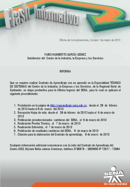 Regional norte de santander contrato de aprendizaje for Oficina de correos santander