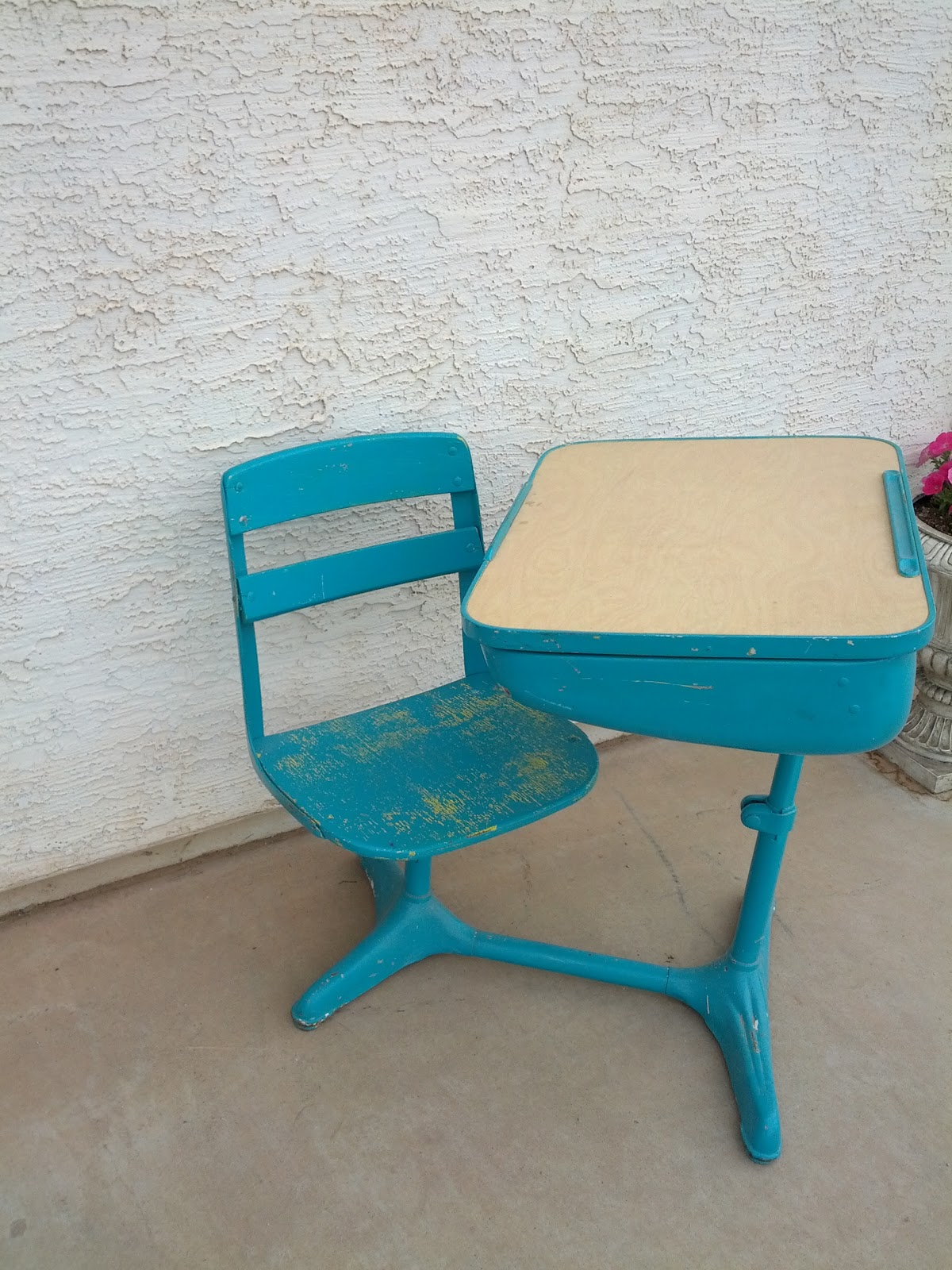 Country Chic Teal and yellow childrens school desk