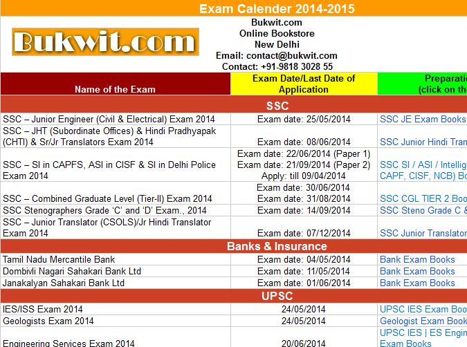 Exam Calender 2014-2015