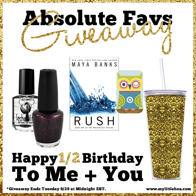 favorite things giveaway gold tumbler signed rush by maya banks target gift card vampsterdam polish seche vite top coat