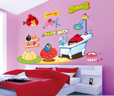 Angry bird wall decoration for children bedroom for Angry bird wall mural