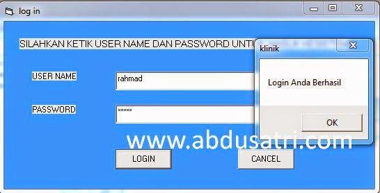 Contoh program login d VB 6.0