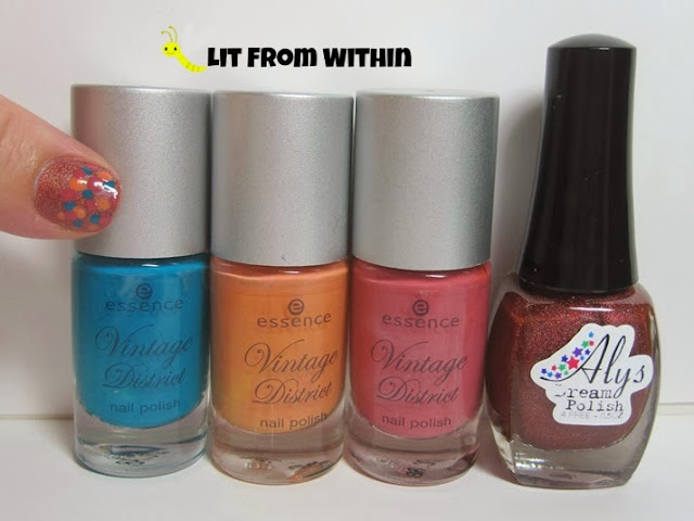 Bottle shot:  Essence Vintage District polishes in Shopping @ Portobello Road, Antique Pink, and Vintage Peach, and also Aly's Dream Polish Firebrick.