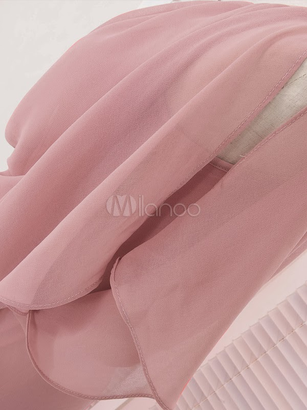 China Wholesale Clothes - Cool Pink Chiffon Bateau Neck Sleeveless Maxi Dress