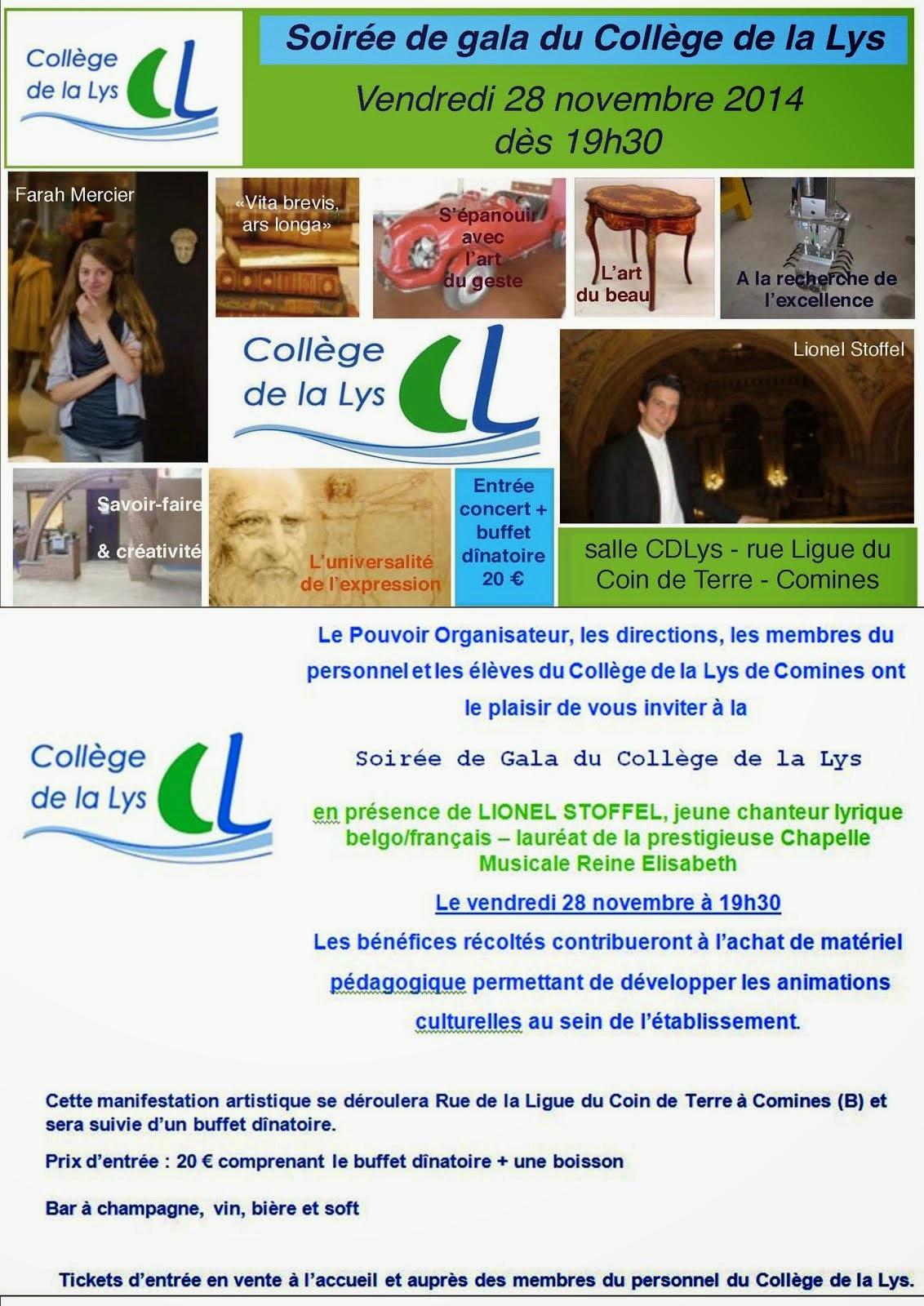 28 NOVEMBRE Soirée de Gala du Collège de la Lys.