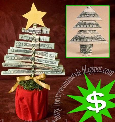 Идеи за подарък коледна елха от пари
