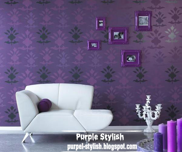 Classic design of dark purple wallpaper and purple frames for Dark purple living room ideas