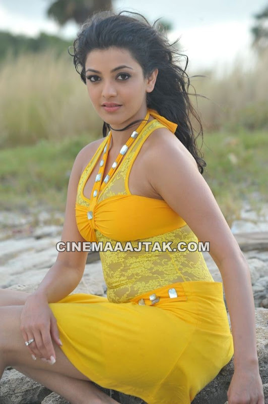 Kajal Agarwal Beach Pic1 - Kajal Agarwal Hot Beach Pics in Yellow Dress