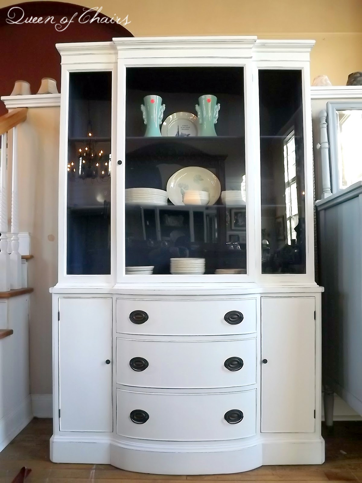 Blue and White Painted China Cabinet