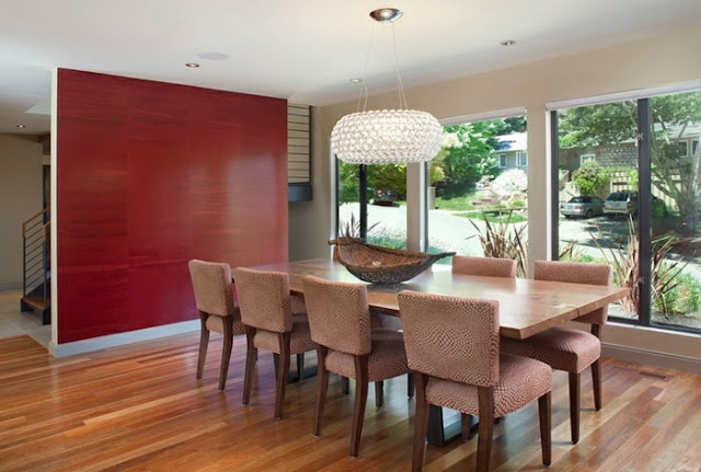red dining room table
