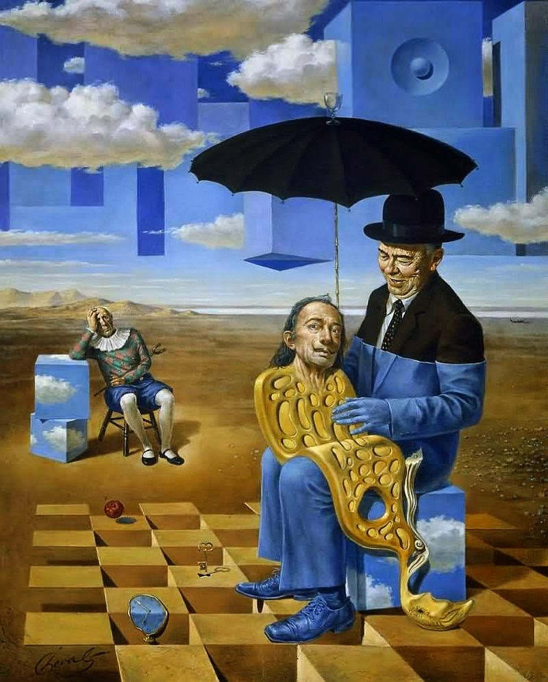 11-Michael-Cheval-Lullaby of Uncle Magritte-Surreal-Absurdist-Paintings-www-designstack-co