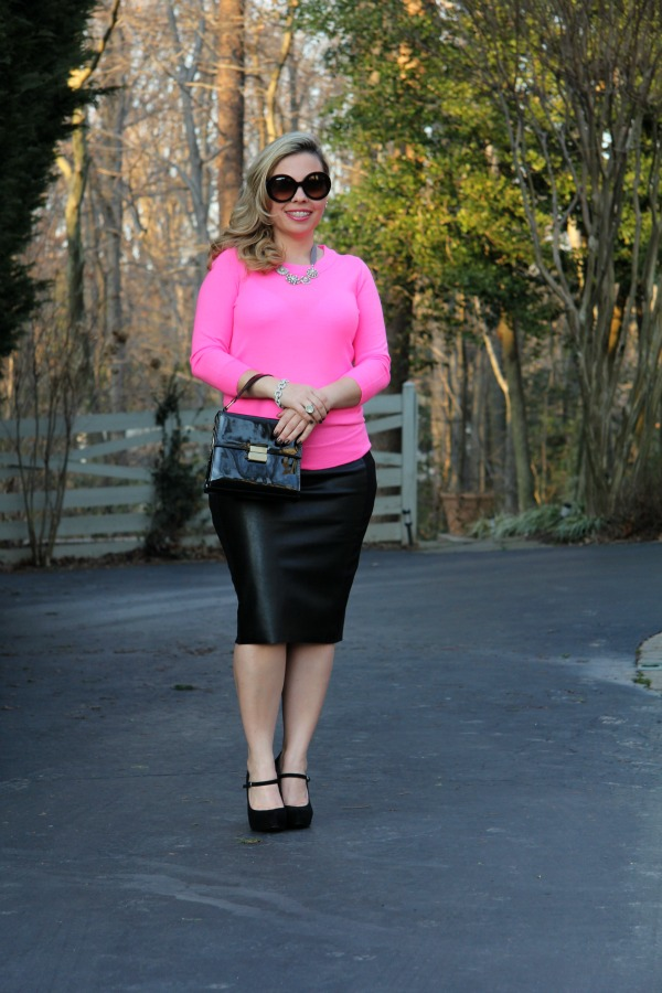 Pencil Skirt from Anthropology, Pink Neon Sweater from J Crew, Black Suede Paulie Platform Pumps from BCBG, Baroque Round Sunglasses from Prada, Bag from Forever 21, Bracelet from TJ Maxx, Necklace from Carolee Jewelry