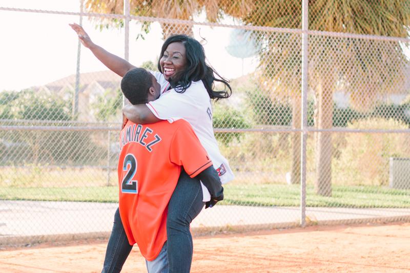 delray baseball themed engagement