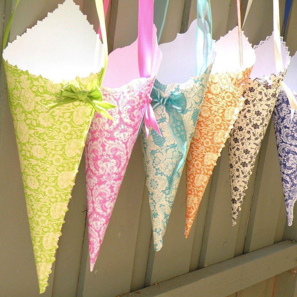 cone de papel decoracao como fazer