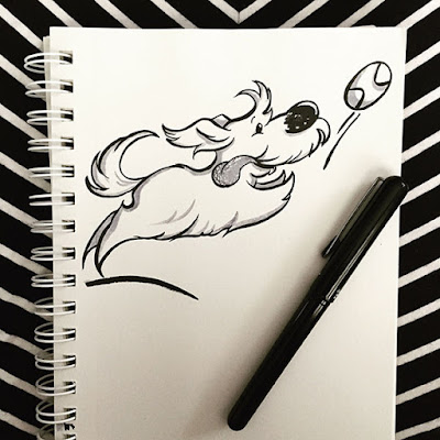 Ink drawing of a dog chasing a ball with its tongue sticking out