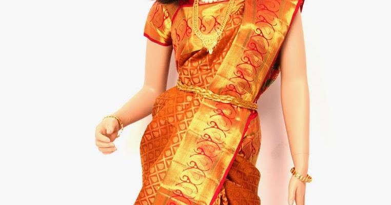 MEHANDI DESIGNS WORLD: ORANGE GOLD PATTU SAREE