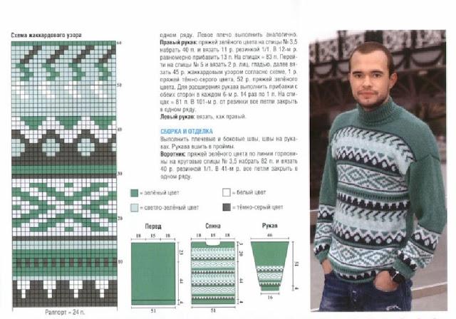 Схема вязания жаккардового мужского свитера