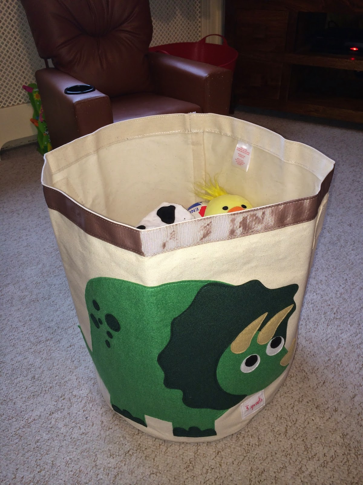 Some Of Bertu0027s Soft Toys Peeking From The Top Of His Fab New Dinosaur  Storage Bin!