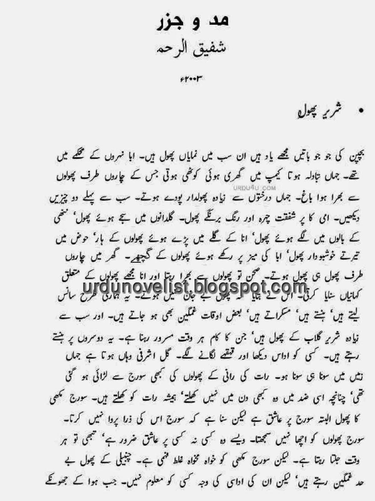 Mado Jazar By Shafiq ur Rehman