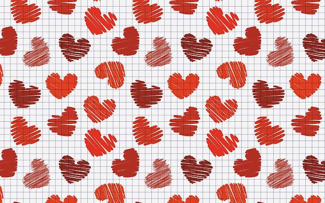 Witte wallpaper met rode liefdes hartjes