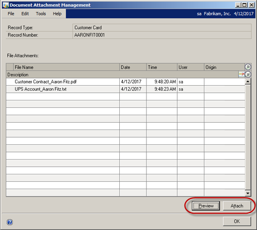 Screenshot of Document Attachments Management In Dynamics GP 2013