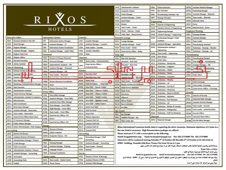 """وظائف للجميع """" سلسلة فنادق ريكسوس العالمية """" - والمقابلات حتى 8 / 10 / 2015"""