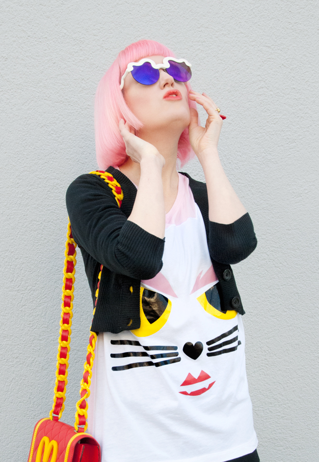 Choupette, pink hair, moschino