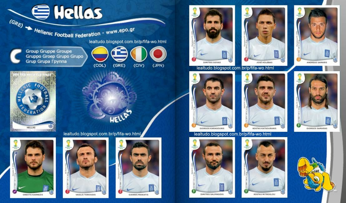 Album HELLAS - GRECIA Fifa World Cup BRAZIL 2014 LIVE COPA DO MUNDO Sticker Figurinha Download Lealtudo