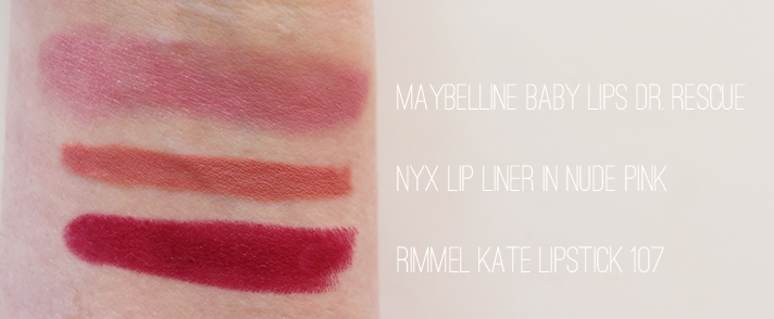 MOST LOVED // September '14 - Maybelline Baby Lips Dr. Rescue, NYX Lip Liner in Nude Pink, Rimmel Lasting Finish By Kate Lipstick in 107 - CassandraMyee
