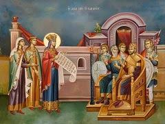 Η Αγία Αικατερίνα και η συνομιλία της με τους 50 ρήτορες (Στην απάντησή της η Αγία, χρησιμοποιεί...