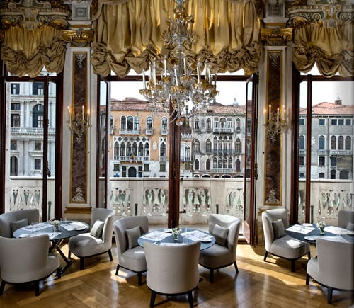 Venetian interior design in the dining area having the awe-inspiring view of the Venetia city