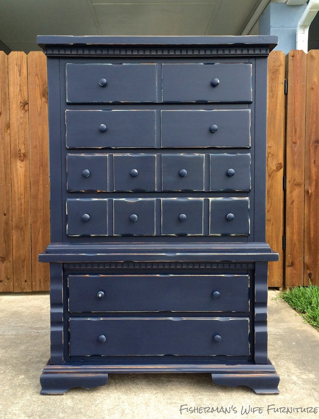 Fisherman 39 s wife furniture navy distressed dresser for Distressed furniture