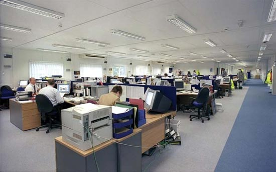 Open Plan Offices: A Large Open Space With No Dividing Walls Designed To  Accommodate A Large Number Of Office Workers.
