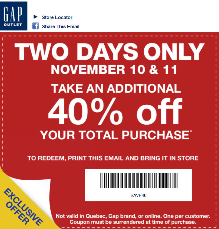 photo relating to Gap Factory Printable Coupon known as Hole coupon codes canada inside retail store - Wheel offers colorado springs