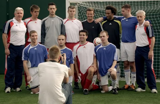 David Beckham poses with ParalympicsGB's five-a-side football team