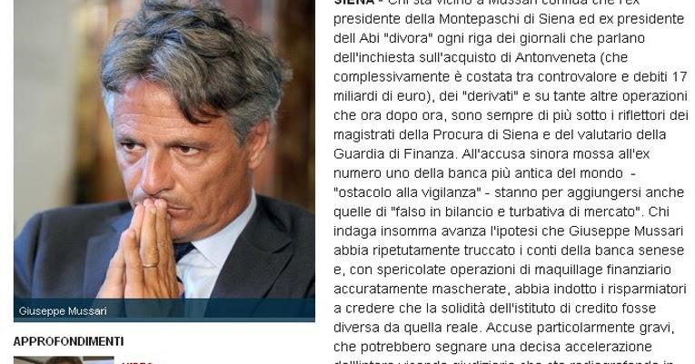 Tg roma talenti scandalo banca mps ultimissime da for Cammina nei piani della dispensa
