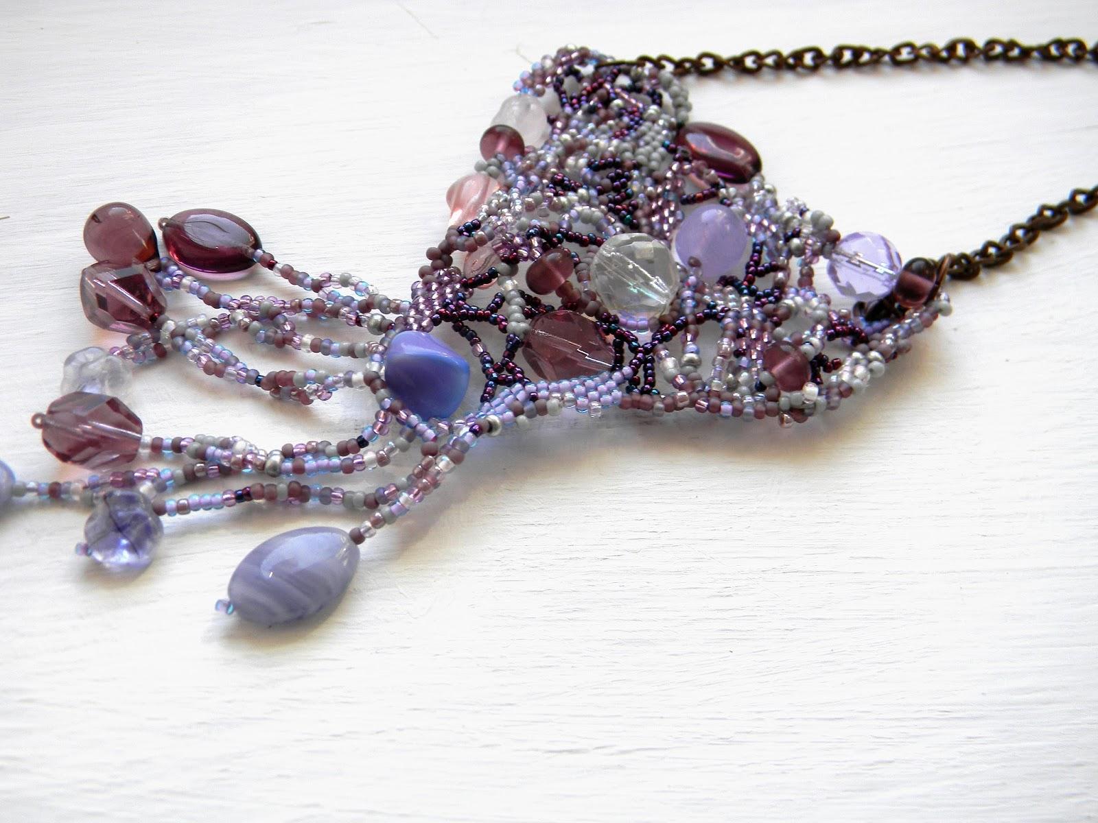 Purple freeform necklace beadwork jewelry beaded free form peyote