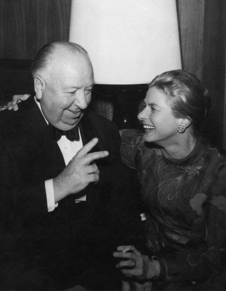 Alfred Hitchcock with Ingrid Bergman.