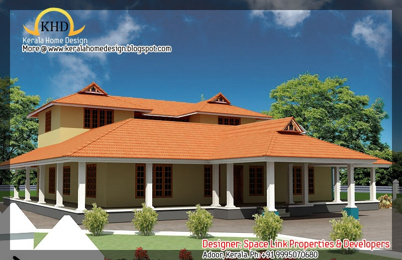 Kerala nalukettu house plan and elevation 2750 sq ft for Veedu elevation