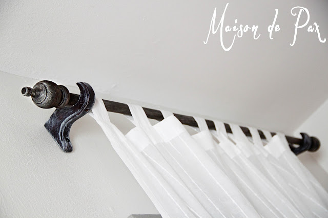 """Create your own """"reclaimed"""" wood curtain rods for only $5!"""