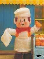 patron gratis muñeco pastelero amigurumi de punto, free knit amigurumi pattern baker doll