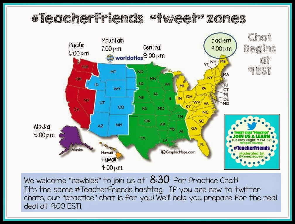 #TeacherFriends Time Zone Reminder 9PM EST {8:30 for Newbie Support}