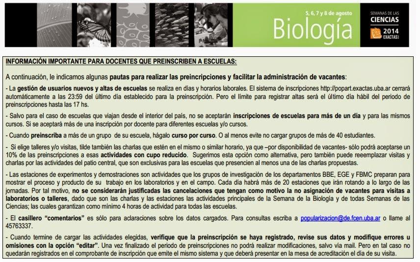 Rea de ciencias formales y naturales julio 2014 se acerca la semana de la biologa en exactas urtaz Images