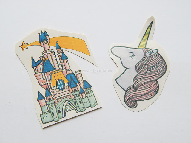 A fairy tale castle and a unicorn sticker