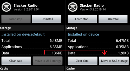 how to change default to internal usb storage