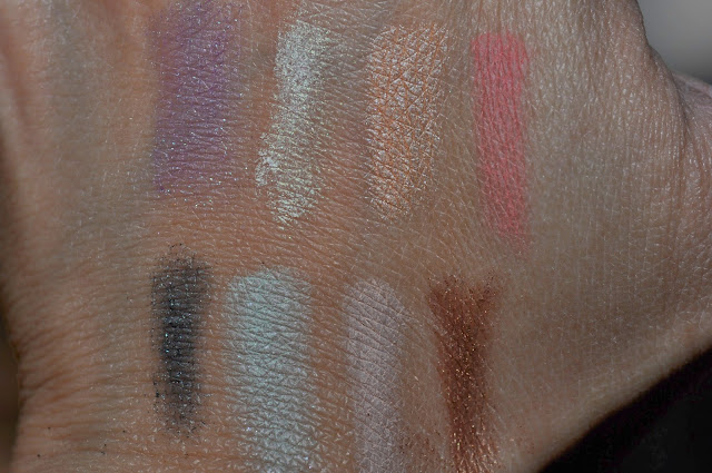 Kat Von D Esperanza Palette Swatches:  Selena, Dayglo (transformer shade), Galore, Placebo  Santeria, Archangel, South, Dog Roses