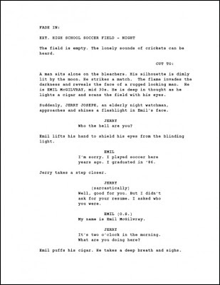 PAGE ONE OF SCREENPLAY