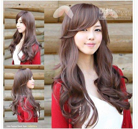 Fashion and styles long curly hair with fringe